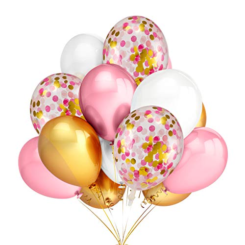 30Pcs Gold & Pink & White Color Latex Balloons and 12Pcs 12 Inches Gold & Pink & Light Pink Confetti Latex Balloons-Wedding Birthday Baby Shower Party Decoration Supplies