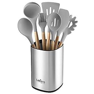 """Stainless Steel Kitchen Utensil Holder, Kitchen Caddy, Large Utensil Organizer, Modern Rectangular Design, 6.1"""" by 5… 7"""