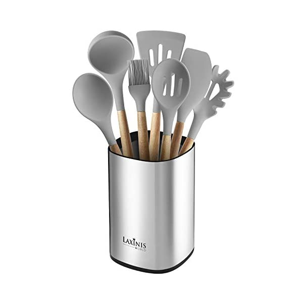 "Stainless Steel Kitchen Utensil Holder, Kitchen Caddy, Large Utensil Organizer, Modern Rectangular Design, 6.1"" by 5… 1"