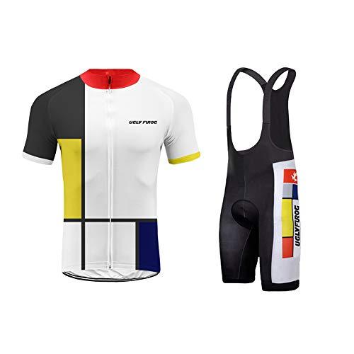 - Uglyfrog Men's Short Sleeves Cycling Jersey Set Bike Jersey Suit Cycling Shirt Bib Shorts with 3D Gel Padded
