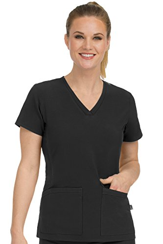 Med Couture Women's 'Activate' V-Neckline Power Scrub Top, Black, X-Large