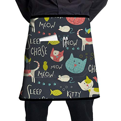 HGKIDUWDY Whimsical Cats Men & Women Half Short Waist Server Apron 21.3 X 17.7 Inch with One Pocket Waiter Waitress Cooking Kitchen Chef Aprons for Restaurant Shop Garden Work from HGKIDUWDY