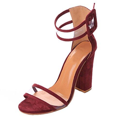 Hauts à Sangle Sandales à Femme Burgandy à Talons Talons Lalang Cheville Ouverts Chaussures À zwtqw6U