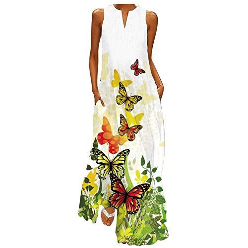 Lalaluka Zomerjurk voor dames, met mouwen, elegante vlinderprint, modieuze jurk, bloemenjurk, strandjurk, maxi-jurk…