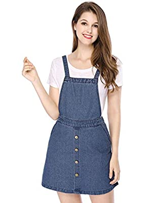 Allegra K Women's Classic Adjustable Straps Short Suspender Denim Dress