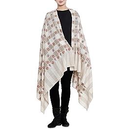 100% Handspun Cashmere Hand Embroidery Scarf Winter Womens Pashmina Shawl KASHFAB