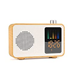 Sysmarts Wooden Retro Stereo Wireless Portable Bluetooth Speakers with FM Radio Digital Alarm Clock Supported TF Card/AUX-IN USB Charging (Maple Wood)