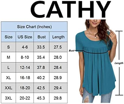 CATHY WOMEN'S SUMMER SHORT SLEEVE PLEATED BLOUSE LOOSE FLOWY TUNIC TOP FOR LEGGINGS