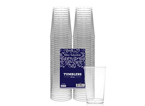Elite Selection 10 Oz. Pack Of 100 Clear Hard Disposable Party Plastic (Plastic Party Tumblers)