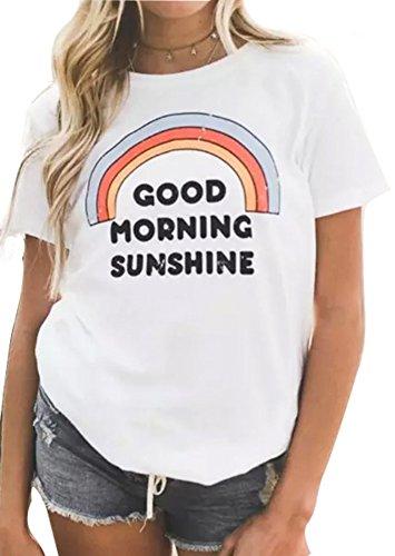HDLTE Women's T Shirt Short Sleevve Good Morning