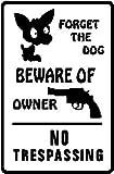 BEWARE OF OWNER street sign gun dog protect