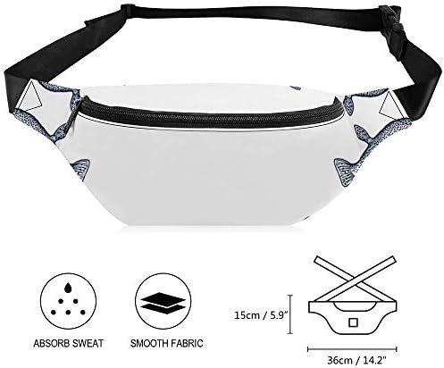 白海軍フグブロー魚フグ ウエストバッグ ショルダーバッグチェストバッグ ヒップバッグ 多機能 防水 軽量 スポーツアウトドアクロスボディバッグユニセックスピクニック小旅行