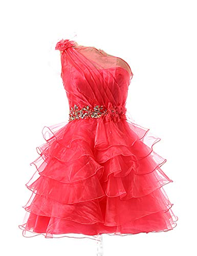 Sarahrbdail Juniors Organza Short Homecoming Dresses One Shoulder Beaded Crystal Prom Party Gowns Coral US8 Beading Organza Homecoming Dress