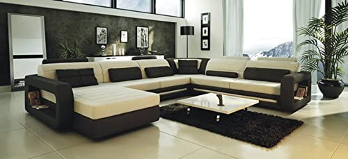 Contemporary Plan Ultra Modern Cream and Black Leather Sectional Sofa - the best living room sofa for the money
