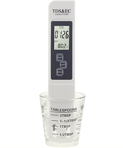 Water Quality Hardness Test Meter, Professional Digital TDS EC Temperature Meter 0~9990 ppm Measurement Range, +/- 2% Accuracy Water Quality Meter Home Drinking Water Pool Aquariums (White) (Water Softener Meter)
