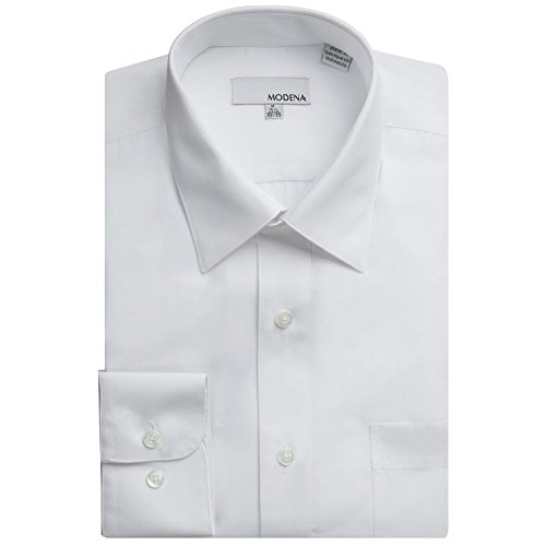 Modena Men's Long Sleeve Dress Shirt - All Sizes (Including Big & Tall) (19 34/35, White)