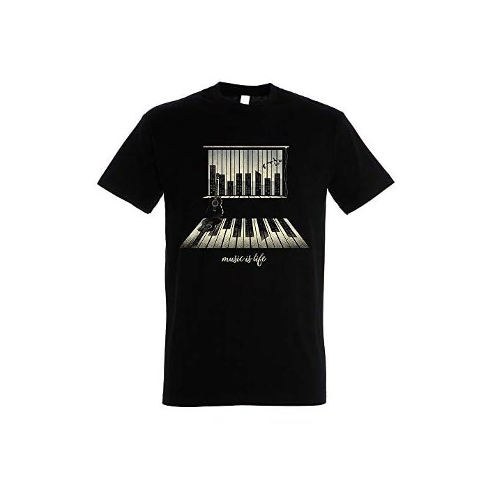 410KAQWNMcL Camiseta artística para los amantes de la música. Color Negro. 100% Algodón de