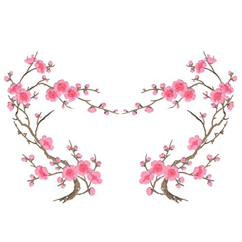Pink Cherry Blossom Flowers Set of Two Embroidered Iron on Sweater T Shirt Jacket Patches