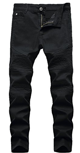 Boy's Black Stylish Moto Biker Skinny Ripped Wrinkled Stretch Fit Denim Jeans 12