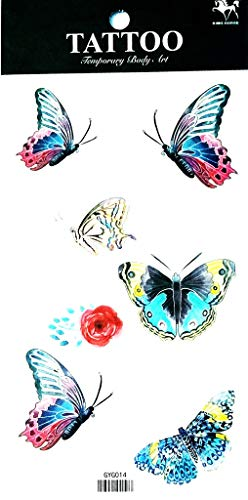 PP TATTOO 1 Sheet Rose Butterfly Latest hot Selling and Fashionable Design Butterfly Fake Temp Tatoo Sticker Waterproof Tattoo Sexy Fake Stickers Girls Lady Tattoo Body Art ()
