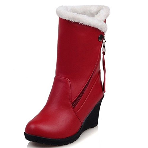 Fashion COOLCEPT Fur Ankle Women Faux Warm Red Lined High Wedges Heels Boots ag4gwf
