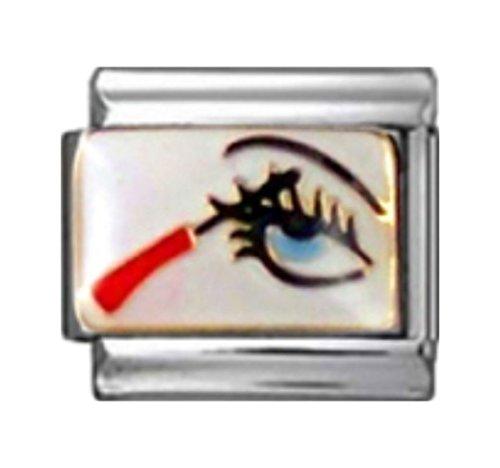 - Stylysh Charms Makeup Eye Mascara Enamel Italian 9mm Link NC043