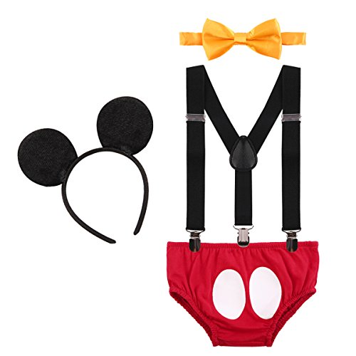 Baby Boys 1st Birthday Cake Smash Outfit Adjustable Y Back Clip Suspenders Bowtie set Bloomers Clothes with Mouse Ears Headband -