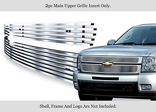 APS 304 Stainless Steel Billet Grille Fits 2007-2013 Chevy Silverado 1500 Chrome Polished #N19-S66756C Chevrolet Silverado Stainless Steel Billet