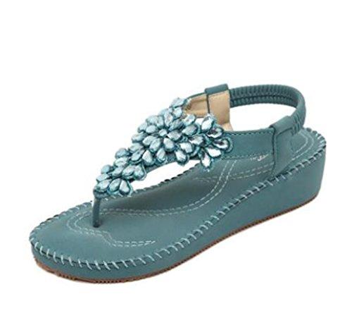 Ohmais Mädchen damen Frauen Flattie Sandalen Flache Schuhe Flops flache Sandalen Sommer mit Perlen Böhmen Blau