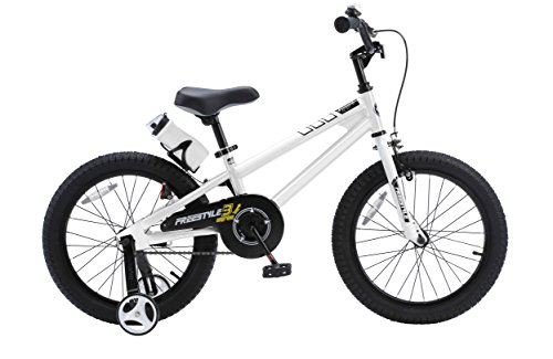 Royalbaby RB18B-6W BMX Freestyle Kids Bike, Boy's Bikes and Girl's Bikes with training wheels, Gifts for children, 18 inch wheels, White (Bmx Frame Bike)
