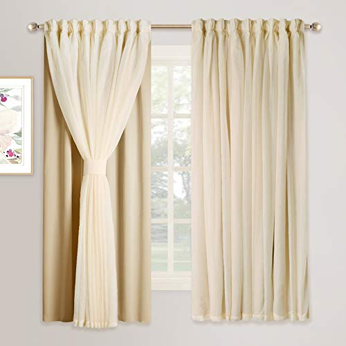 NICETOWN Double Layers Light Blocking Rod Pocket Mix & Match Elegance Biscotti Beige Crushed Voile and Blackout Curtain/Drape/Drapery with 2 Tie-Backs, Cortinas para Sala, 1 Pack (Curtains Sale)