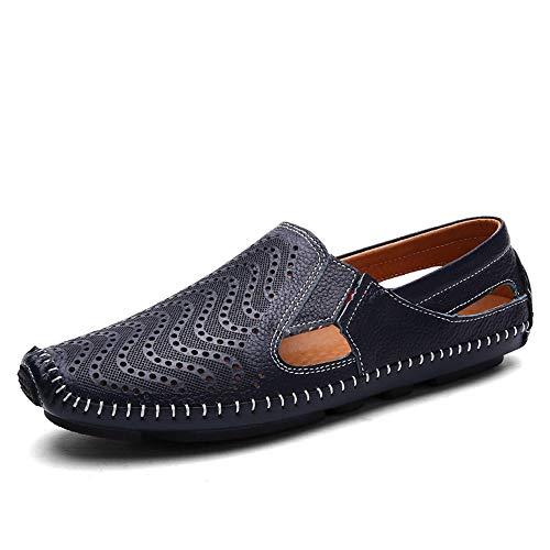 Color Hombres Holgazanes Cuero de Ahuecan Qiusa los los a Mano EU Hechos de 43 para Hombre Genuino para Zapatos Azul Ocasionales tamaño conducción Zw4qxA7U