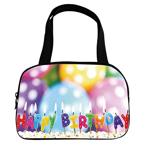 iPrint Vogue Small Handbag Pink,Birthday Decorations for Kids,Colorful Candles on Party Cake with Abstract Blurry Backdrop,Multicolor,for Girls,Diversified Design.6.3