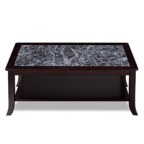 (Olee Sleep VC18TB04D Grigo Garinico Natural Top Coffee Real Marble/Classic/Stylish/Soild Wood Table, Dark Black & Black)