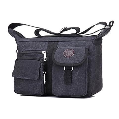 Fabuxry Women's Shoulder Bags Purse Handbag Travel Bag Messenger Cross Body Canvas Bags (Black)
