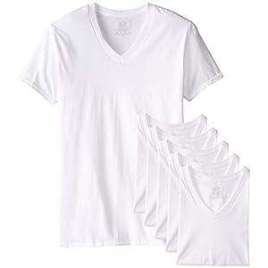 Fruit of the Loom Men's 6-Pack Stay Tucked V-Neck T-Shirt,White,X-Large