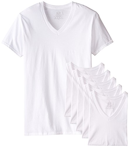 Fruit of the Loom Men's 6-Pack Stay Tucked V-Neck T-Shirt,White,Medium