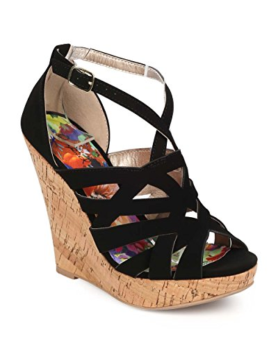 Qupid EE20 Women Nubuck Peep Toe Criss Cross Weave Cork Wedge Sandal - Black (Size: 8.5)