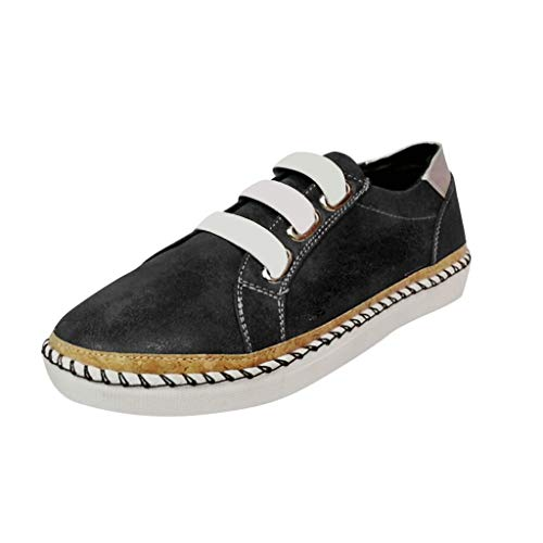 TnaIolral New Women Shoes Flats Hollow-Out Round Toe Summer Breathable Sneakers (US:8, Black)