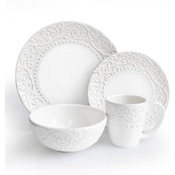 American Atelier Bianca White 16-Piece Dinnerware Set  sc 1 st  Amazon.com & Amazon.com | American Atelier Bianca White 16-Piece Dinnerware Set ...