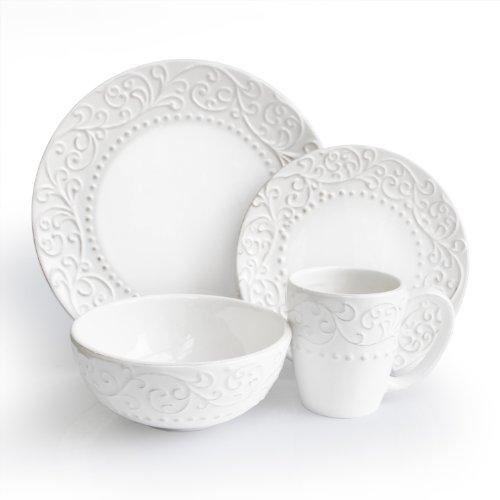16 Piece Marguerite Dinnerware Set in White
