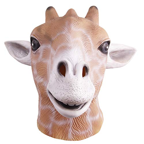 Molezu Giraffe Head Mask, Halloween Costume Party Latex Animal Head Mask -
