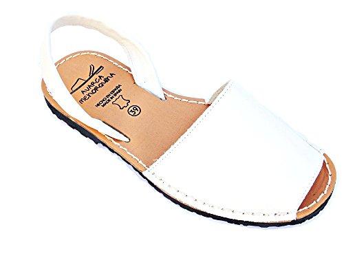 Avarca -Abarca Weiß Damen Leder eben original Sandalen Strand / Spanien