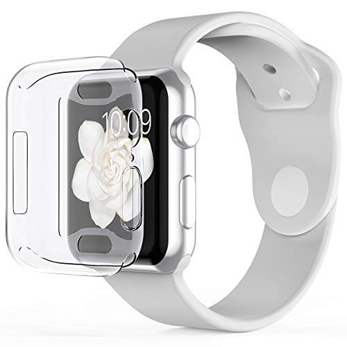 Pobon Compatible with Apple Watch 4 Case 44mm, Built-in Screen Protector [3D Touch] All-Around Protective Ultra Clear Soft TPU Case Fit for Apple Watch Series 4 44mm (Clear)