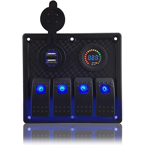 IZTOSS Blue led 3 Gang DC12V Blue Switch Panel with 12V Voltage 3.1A Dual USB Voltmeter and Wiring Kits for Marine Boat Car Rv Vehicles Truck ()