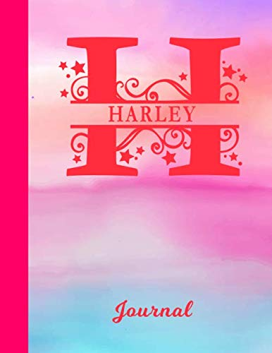 Harley: Blank Journal - Personalized First Name & Letter Initial Personal Writing Diary | Glossy Pink & Blue Watercolor Effect Cover | Daily ... | Write about your Life, Goals & Interests