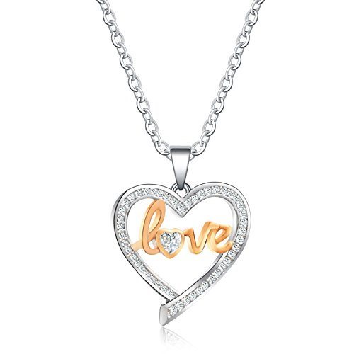 Heart Love Austrian Crystal (Necklace Pendant Gifts Heart Necklace Love Necklace With Austrian Crystals Women Pendant Jewelry)
