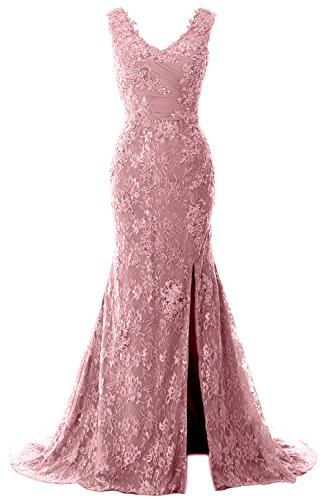 MACloth Women Mermaid V Neck Lace Wedding Formal Evening Gown Long Prom Dress (US16w, Blush ()