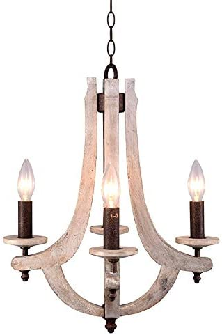 Retro Iron Wooden Chandelier 4 Candle Holder Lights Vintage Wood Metal Chandelier Light Rustic Iron Pendant Chandelier Lighting W15.7XH18.9 Inch Antique Style Pendant Lamp Antique Ashen