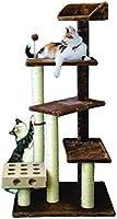 Furhaven Pet Tiger Tough Árbol para gato con escalera, área de juego y una torre de múltiples niveles más un juguete Cat-IQ, marrón